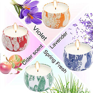 Scented Candles Gift Sets, Natural Soy Wax 4.4 Oz Aromatherapy - EK CHIC HOME