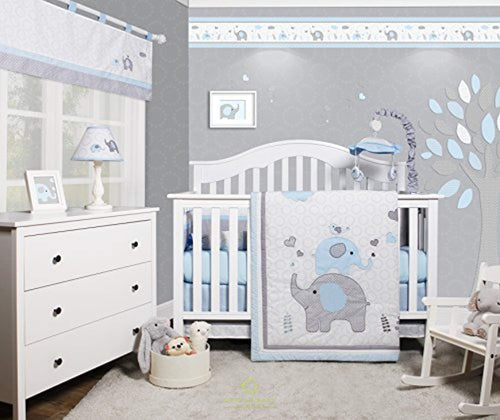 Blue Grey Elephant 6 Piece Baby Nursery Crib Bedding Set - EK CHIC HOME
