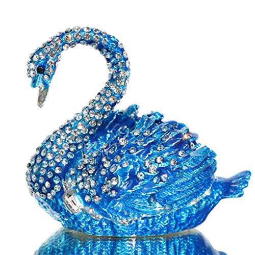 Diamond Blue SWAN Box Hinged Hand-Painted Figurine Collectible Ring Holder with Gift Box - EK CHIC HOME