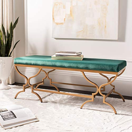 46-inch Glam Emerald Green Velvet and Gold Rectangular Bench