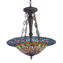 "Load image into Gallery viewer, 22"" Shade Camila Tiffany-Style 3 Inverted Ceiling Pendant - EK CHIC HOME"