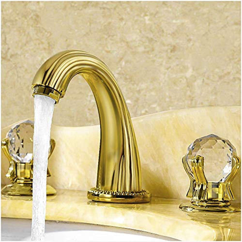 Luxury Gold Finish Bathroom Faucet with Crystal Knobs 3 Holes Bath Sink - EK CHIC HOME