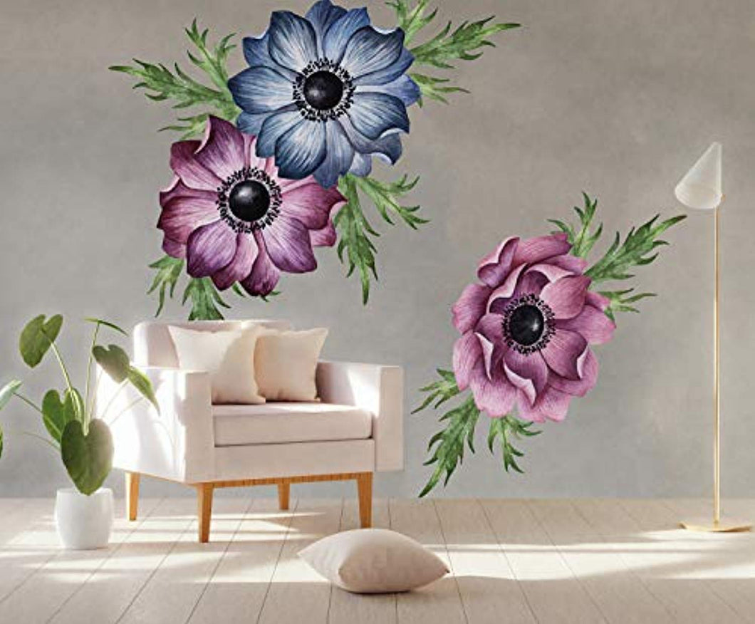 Anemone Floral Wall Decal Watercolor Wall Stickers Flowers Peel n Stick - EK CHIC HOME