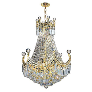"Empire Collection 9 Light Gold Finish Chandelier 20"" D x 26"" H Round Medium - EK CHIC HOME"