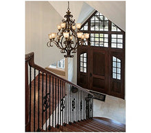 Load image into Gallery viewer, Wrought Iron Nine Light Chandelier Bronze/Darkfinish - EK CHIC HOME