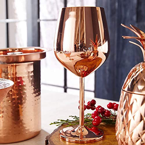 Rose Gold Stem Stainless Steel Wine Glass Set 4