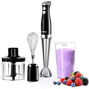 "Premium Hand Blender with 8"" Removable Blending Arm - 2 Touch Speed Adjustable - EK CHIC HOME"
