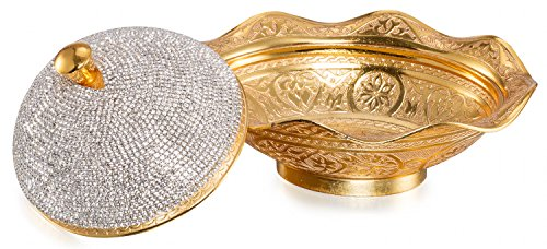 Swarovski Crystal Coated Handmade Brass Sugar Chocolate Candy Bowl - EK CHIC HOME