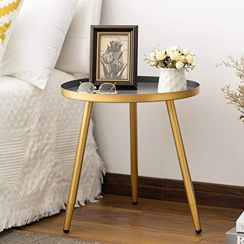 Metal End Table, Nightstand/Small Tables Gold & Gray