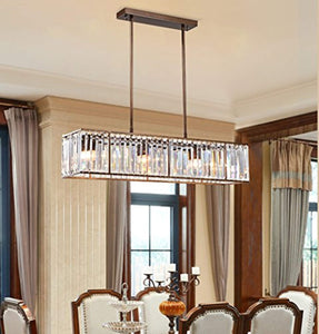 Crystal Chandelier Brush Tarnish Metal Frame Crystal Raindrop Chandelier Rustic Vintage Rectangular Fixture - EK CHIC HOME