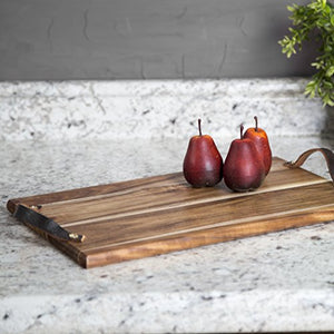 "Acacia Cheese/Cutting Board Block 17"" X 11"" X 1"" - With Leather Handles - EK CHIC HOME"