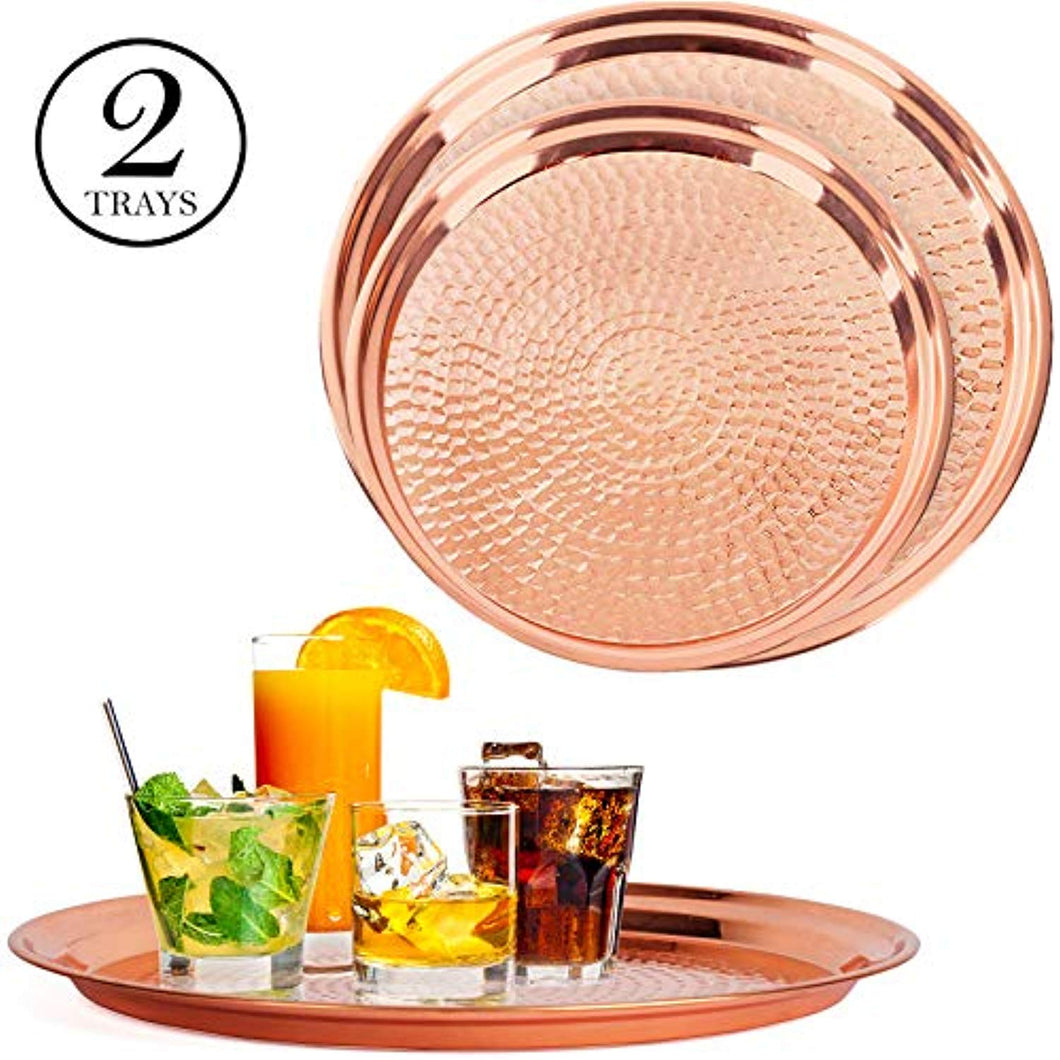 Copper Tray - 2 Pack - Large Tray 15 inch, Medium Tray 13 Inch - EK CHIC HOME