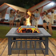 Load image into Gallery viewer, Fire Pit, 32 Inch Metal Square Patio Backyard Fire Pits Outdoor - EK CHIC HOME