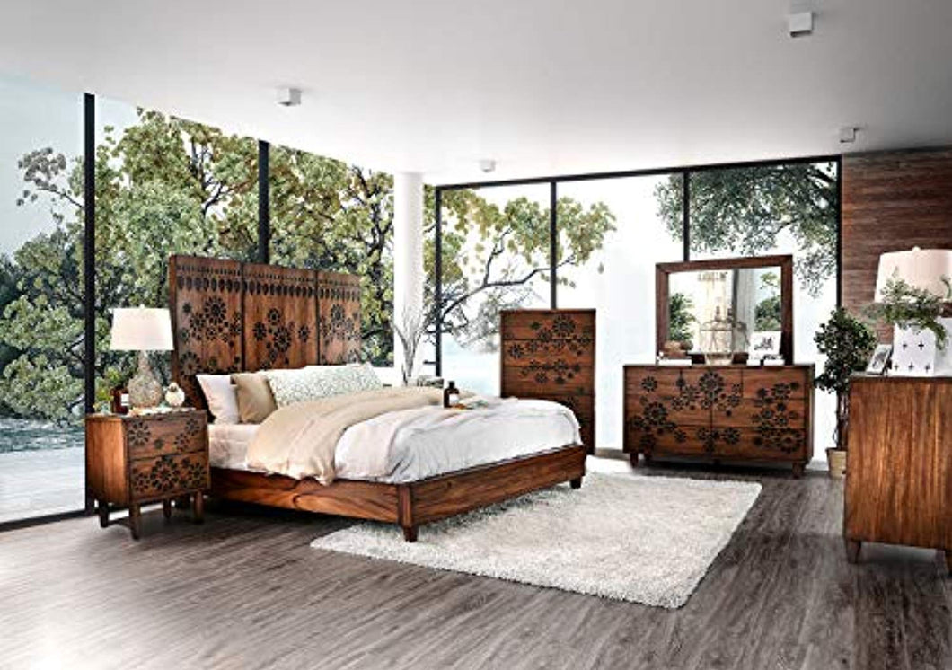 Contemporary Dark Oak Finish Bedroom Furniture 4piece California King Size Set - EK CHIC HOME