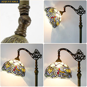 Tiffany Floor Lamp Stained Glass Lotus Lampshade in 64 Inch Tall Antique Arched Base - EK CHIC HOME