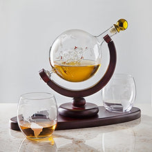 Load image into Gallery viewer, Whiskey Decanter Globe Set with 2 Etched Globe Whisky Glasses - EK CHIC HOME