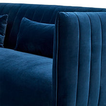 Load image into Gallery viewer, Rivet Ludvig Velvet Mid-Century Modern Sofa, Navy Blue - EK CHIC HOME