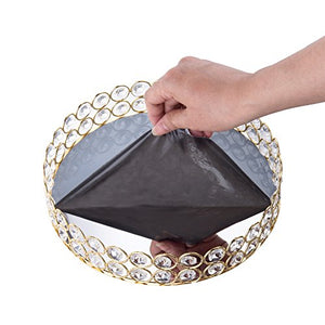 Crystal Beads Round Mirrored Decorative Tray - EK CHIC HOME