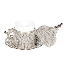Load image into Gallery viewer, 27 Pc Turkish Coffee Espresso Cup Saucer Swarovski Crystal Set SILVER - EK CHIC HOME
