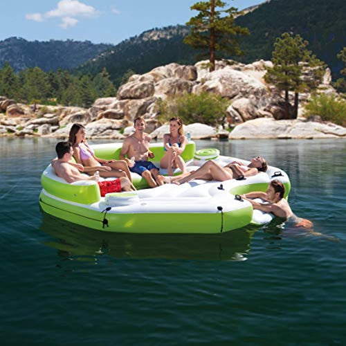 Inflatable Key Largo Party Island Float with Built-in Coolers & Cupholders