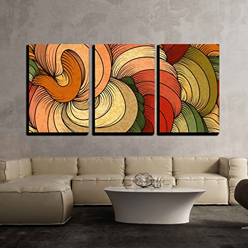 3 Piece Canvas Wall Art - Vector - Seamless Abstract Pattern - Stretched and Framed Ready to Hang - 24