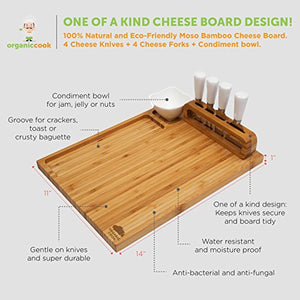 "Cheese Board Set, Cheese Tray includes 4 Cheese Knives with White Ceramic Handles Large Size 14"" x 11 - EK CHIC HOME"