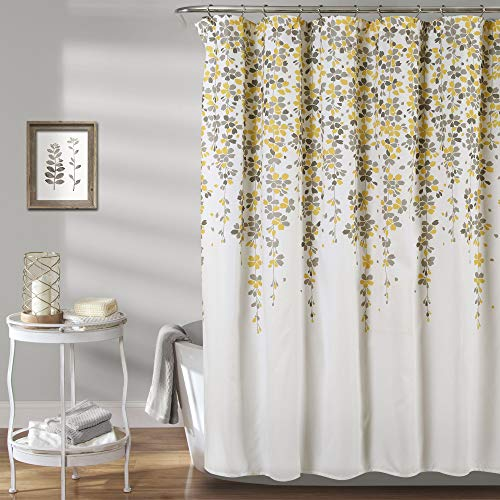 Flower Fabric Bathroom Shower Curtain, Yellow and Gray - EK CHIC HOME