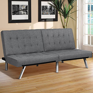 Modern Leather Reclining Futon Sofa Bed w/Chrome Legs - Black - EK CHIC HOME