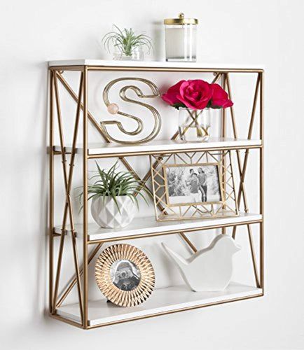 4-Layer Modern Luxe Wooden Wall Shelves with Matte Gold Metal Frame and High-Shine - EK CHIC HOME