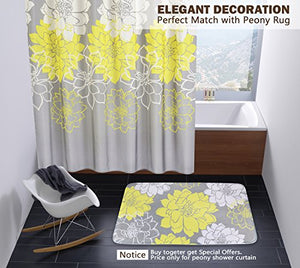 Peony Flower Fabric Shower Curtain Mildew Resistant Yellow and Grey, 72 x 72 - EK CHIC HOME