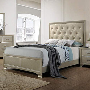 King Tufted Headboard Platform Bed Frame Classic Platform Bed Frame Gold - EK CHIC HOME