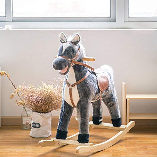 Wooden Rocking Horse Plush Toys Rocker with Sound - EK CHIC HOME