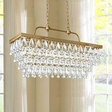Load image into Gallery viewer, Modern Crystal Rectangle Chandelier LED Ceiling Light Fixture H20in x W12in x L31in - EK CHIC HOME