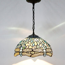 Load image into Gallery viewer, Tiffany Hanging Lamp Crystal Bead Dragonfly 12 Inch Sea Blue Stained Glass - EK CHIC HOME