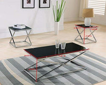 Load image into Gallery viewer, Coylin Glass Cocktail Coffee Table & 2 End Tables (Set of 3), Chrome - EK CHIC HOME