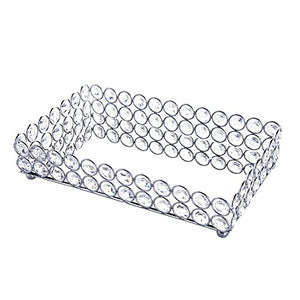 Crystal Mirrored Decorative Tray (Silver) - EK CHIC HOME