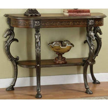 Load image into Gallery viewer, Masterpiece Floral Demilune Console Table with Cast Legs - EK CHIC HOME