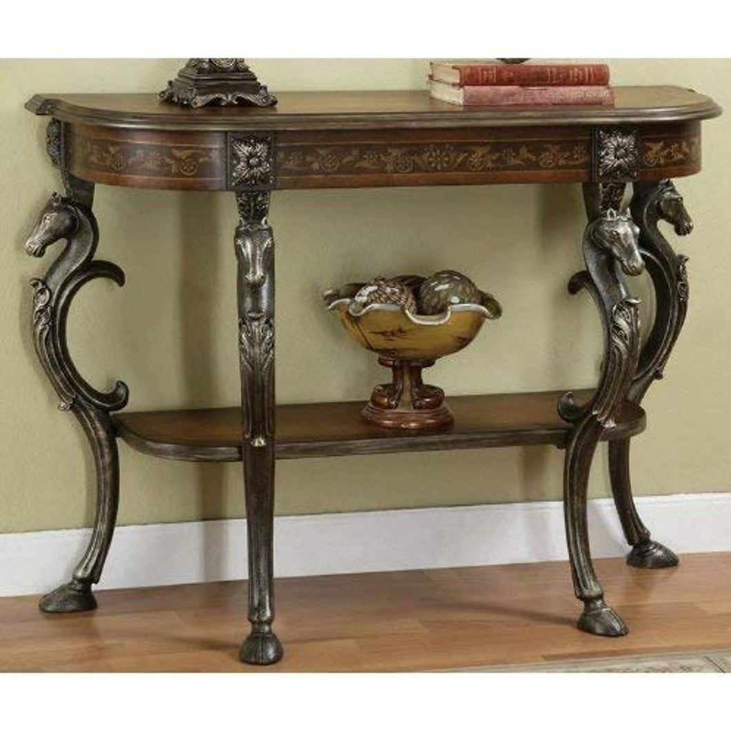 Masterpiece Floral Demilune Console Table with Cast Legs - EK CHIC HOME