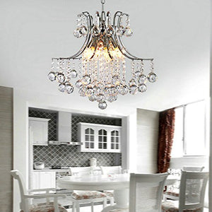 Modern 6 Lights Chrome Finish Crystal Chandelier - EK CHIC HOME