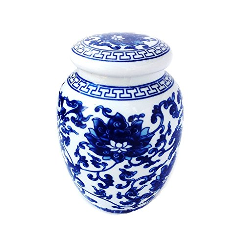 Decorative Blue and White Lotus Pattern Porcelain Display Unit (Medium Size) - EK CHIC HOME