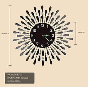 Black Drop Metal Wall Black Glass Night Dial Clock - EK CHIC HOME