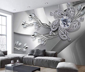 Floral Wallpaper Silver Crystal Daisy Diamond Flower Wall Print Luxury Home Decor - EK CHIC HOME