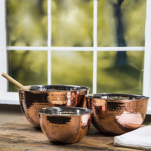 Set Of 3 Copper Hammered Mixing Bowls With Stainless Steel Interior Finish - EK CHIC HOME