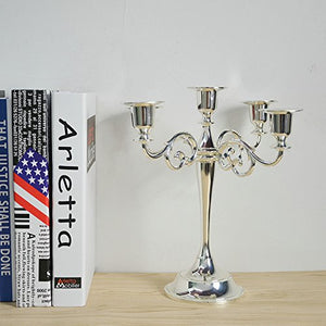 5-Candle Metal Candelabra 10.6 Inch Tall Candle Holder - EK CHIC HOME