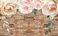 Load image into Gallery viewer, Floral Wallpaper Pink Rose Brick Wall Art Peony Flower Print Industrial - EK CHIC HOME