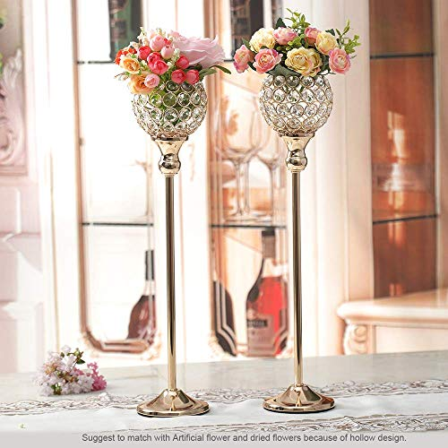 Pair of 2 Gold Crystal Candle Stand Holders - EK CHIC HOME