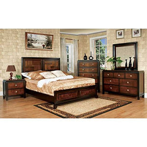 Walnut Finish Queen Size 6-Piece Bedroom Set - EK CHIC HOME
