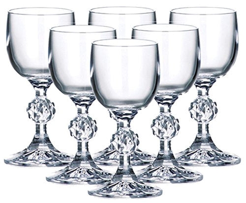 Set of 6 x 50 ml Stemmed Shot Glasses, 1.7 oz Crystal Glass, Lead Free - EK CHIC HOME