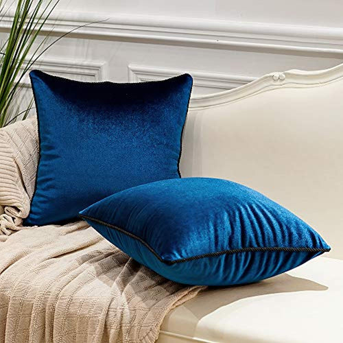 Pack of 2 Luxury Velvet Soft Decorative Square Throw Pillow Covers 24 x 24 - EK CHIC HOME