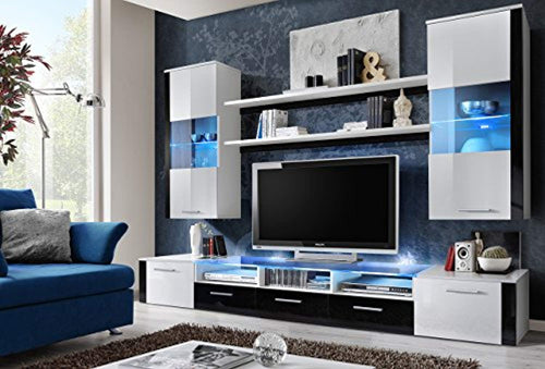 Wall Unit Modern Entertainment Center with LED Lights Fresh (White/Black) - EK CHIC HOME